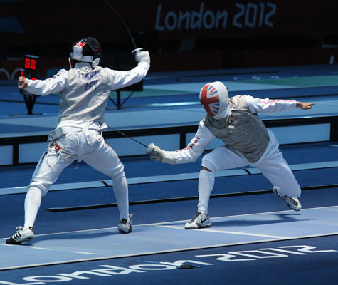 Olympic foil fencing